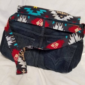 Exclusively Yours-Southwest genre-E-Co friendly carryall fully lined handbag, made from reclaimed denim jeans,crossover messenger bag style.
