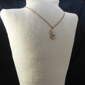 Layered Mixed Pattern Bronze Metal Clay Pendant with Amazonite