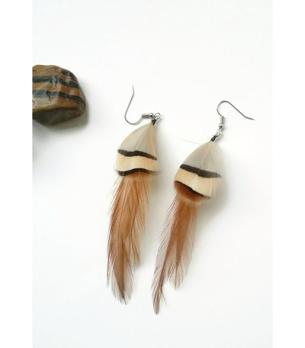 Brown Feather Earrings - Chukar Partridge Earrings  Feather Earrings - Natural Feathers