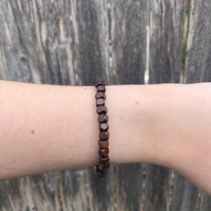 Men's Beaded Red Square Wood Beads Bracelet, Minimalist Square Wooden Bead Bracelet, Square Bead Bracelet, Unique Bracelets for Men