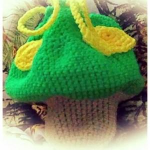 Crochet Drawstring Mushroom Bag