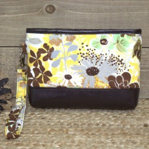 Crossbody or Wristlet Wallet, iPhone 7 Plus, Galaxy Note In Otterbox, Galaxy S6 S7 Edge, Cell Phone Purse Clutch / Wildflowers Yellow Brown