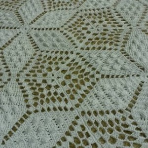 Victorian style Handmade crocheted Popcorn Stitch Star Queen Size Bedspread.  Spring Collection