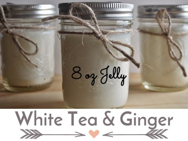 White Tea & Ginger 8 ounce  Scented Handcrafted Soy Candle Jelly Jar