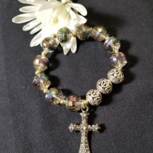 Rosary Bracelet Decade Aurora Borealis, Silver Balls, Stretch Brand Beaded Catholic