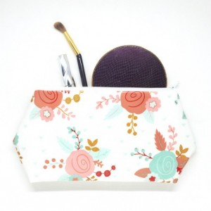 Oil Cloth Cosmetic Bag with Roses - Makeup Case, Travel Bag, Large Cosmetic Case, Laminated Fabric Bag, Oil Cloth Bag, Waterproof Pouch