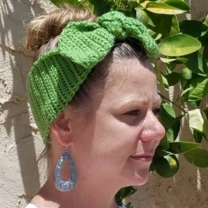 Retro Bunny Ear Messy hair headband,hand crocheted for women and girls, great for runners/bikers/outdoor activities with a flare of fashion!