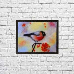 "Wool Painting ""Colorful bullfinch"""
