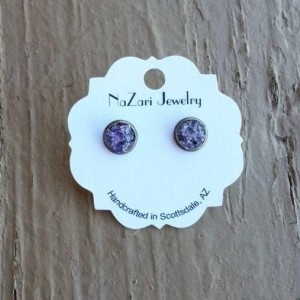 RAW CRUSHED AMETHYST BRONZE EARRINGS