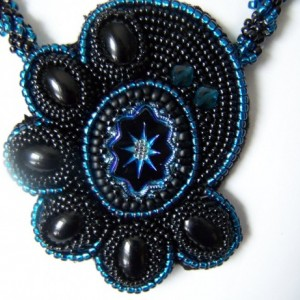 Statement Necklace Bead Embroidered Pendant Art Deco Style PRICE JUST REDUCED