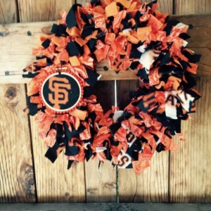 San Francisco Giants Wreath with added embroidery hoop, Home Decor, Baseball