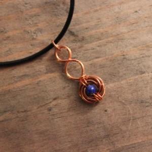 Lapis Pendant, Lapis Lazuli Pendant, Copper Pendant