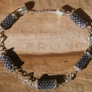 Gray & gunmetal beaded bead & crystal bracelet
