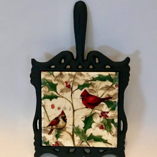 Custom Trivet-Ceramic Tile Trivet-Cardinals Trivet-Cast Iron Square Holder With Handle-Kitchen and Dining-Housewarming-Personalized Trivet