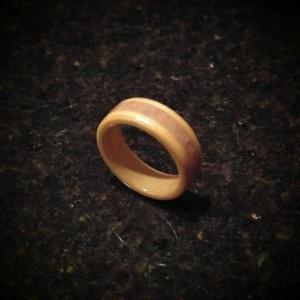 Hand Made (Bentwood Method) Beech w/amethyst inlayed stone
