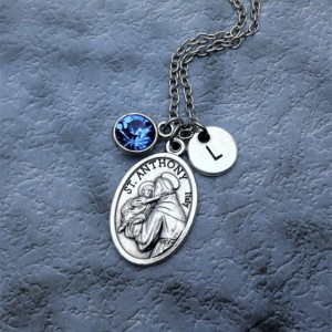 Personalized Silver Plated Saint Anthony Necklace. Patron Saint of Lost and Stolen, the Poor, and Women.