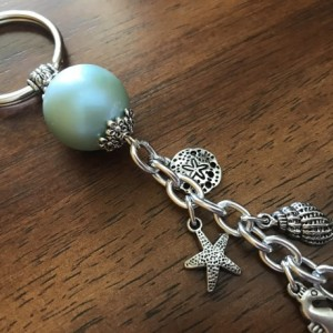 Beach Keychain. Beach Keyring, Purse Charm, Seashell Keychain, Rearview Mirror Charm, Mermaid, Gift for Her, Bag Charm,  Grad Gift, Dangle