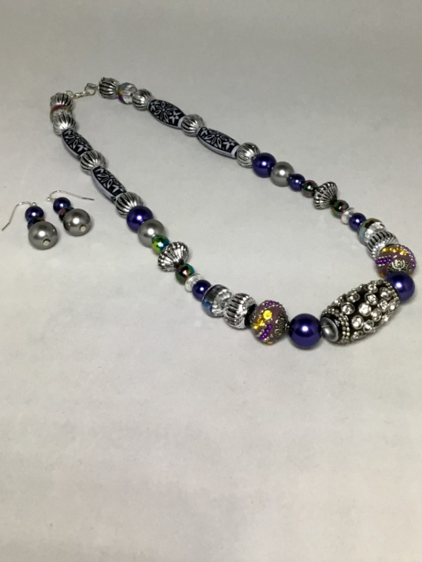 Silver, Blue, & Green Beaded Necklace and Earrings Set