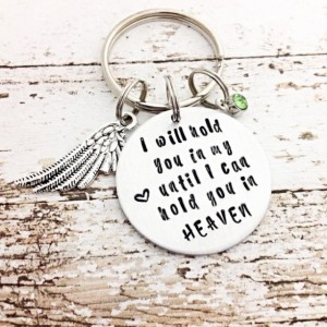Memorial jewelry, remembrance jewelry, funeral gift, infant loss, keychain, hand stamped memorial gift, loss of dad, angel wing charm
