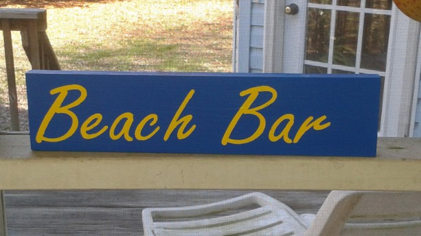 Beach Bar wood sign vintage  hand painted wood sign art