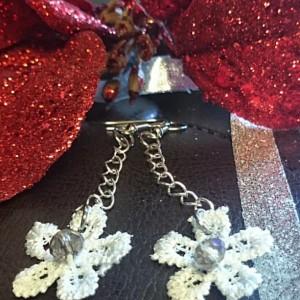 Lace Earrings, Flower Earrings, Lace and Crystal Earrings