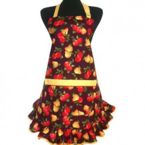 Ruffled Kitchen Apron for Women, Apples and Pears on Plum with Yellow trim, Retro Decor