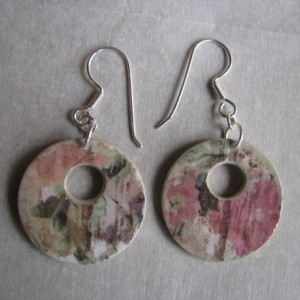 Paper Earrings - Sterling Silver findings - Dangle Earrings - Handmade