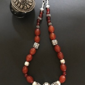 Semiprecious Carnelian .925 Sterling Silver Necklace.
