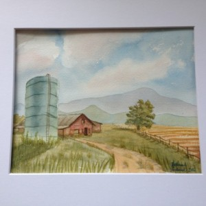 Rt 903 Farm Watercolor, original, landscape, signed, barn, silo, field