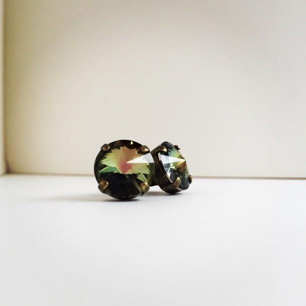 Olive green studs, green studs, tabac studs, bridesmaid earrings, fall earrings, 12mm stud earrings, green earrings,