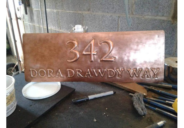 Custom Hand Made Copper Address Plaque