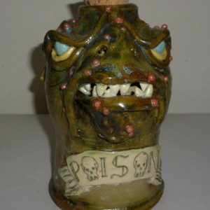 Dragon Head Poison Jug Bottle Artist Judhe Jensen of Topeka Kansas