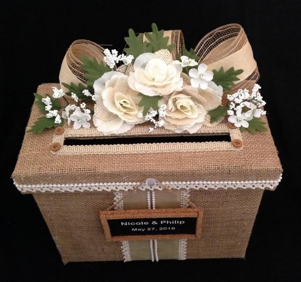 Rustic Wedding Card Box Burlap Wedding Card Box Card Holder Wedding Invitation Wedding Dress Wedding Card Box Wedding Shoes Wedding Gift