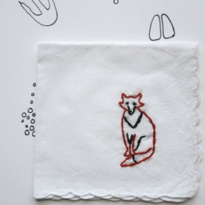 Fox Embroidered Hanky Stitched Fox  Present Original Cotton Gift by wrenbirdarts