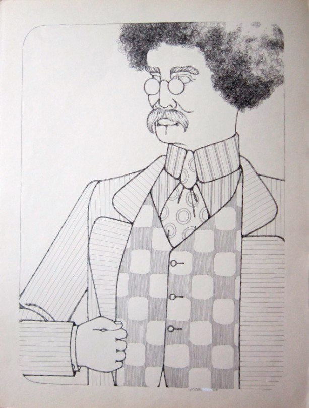 Pen & Ink Drawing of a gentleman in a checkered vest
