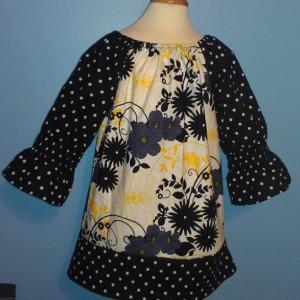 Floral Polka Dot Peasant Dress