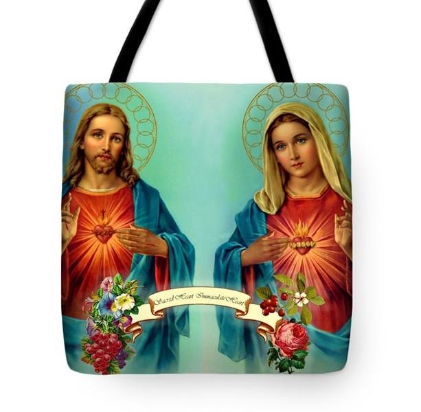 Sacred Heart Immaculate Heart Tote Bag
