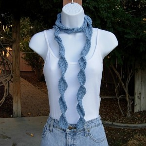 Light Solid Denim Blue Skinny SUMMER SCARF Women's Small Cotton Spiral Crochet Knit Narrow Lightweight Neck Tie, Ready to Ship in 3 Days