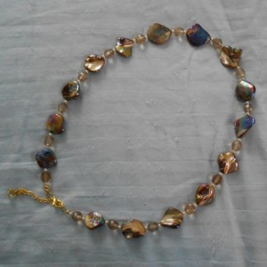 Brown Aurora Borealis Mother of Pearl Necklace