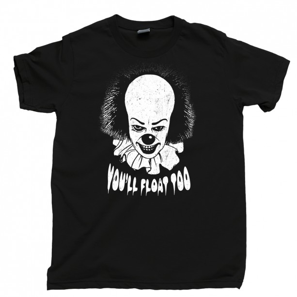 Pennywise Men's T Shirt, You'll Float Too Evil Dancing Clown The Losers' Club Stephen King It Movie Unisex Cotton Tee Shirt