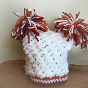 Baby pom pom hat - moon orange and white - Virginia Tech colors