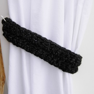 One Pair of Dark Charcoal Gray Curtain Tie Backs, Grey and Black Drapery Tiebacks, Thick Wool and Acrylic Blend, Basic, Crochet Knit, Ready to Ship in 2 Days