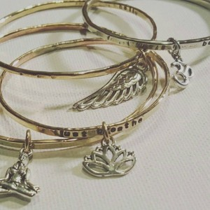 Personalized charm bangle/ Custom handstamped charm bangle