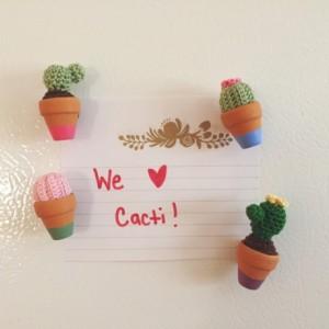 Cactus magnets, amigurumi cactus magnets, crochet cactus magnets, micro cactus magnets, handmade cactus magnets, potted cacti magnets,kawaii