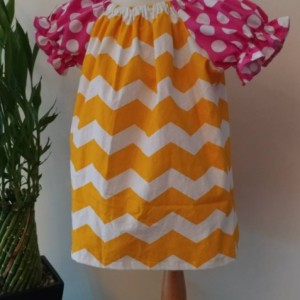 Pink and Yellow Peasent Dress