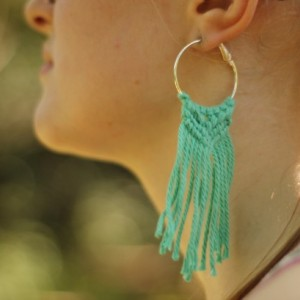 Beach Fringe Macrame Earrings - Boho Earrings - Cotton Earrings - Natural Earrings - Macrame Jewelry - MADE TO ORDER