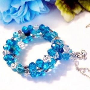 Blue Crystal Memory Wire Slinky Bracelet, Blue Beaded Bracelet, Beaded Bracelets for Women, Thank You Gift, Best Friend Bracelet, Friendship