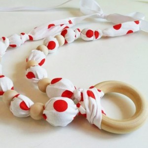 White Red Necklace with Ring - FREE SHIPPING - Polka Dot Nursing Teething, Made in USA