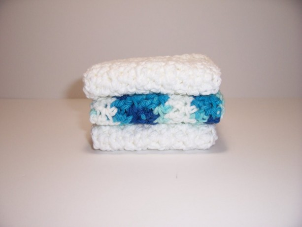 Set of 3 Handmade Crochet Cotton Dish/Bath Cloths,Wash Cloths,Gifts,Housewarming
