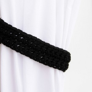 Solid Black Curtain Tie Backs, Curtain Tiebacks, One Pair Wool Blend Basic Black Drapery Holders, Crochet Knit, Ready to Ship in 2 Days